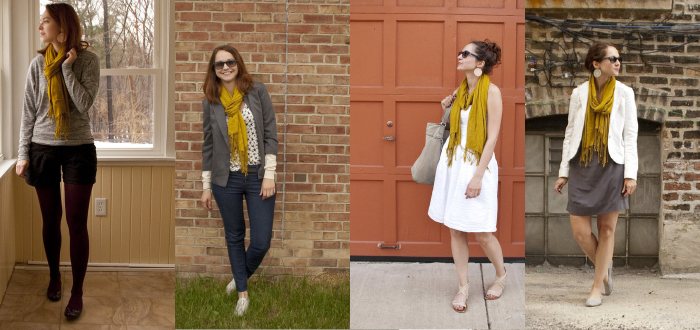 dashdotdotty, scarf multiple ways, remixing, shopping your closet