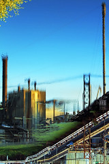 A Fading Dream (Ian Sane) Tags: city blue reflection mill heron water oregon river paper ian still factory dream down images falls products pulp fading upside willamette sane bankrupt a