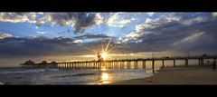 panoramic sunset (Eric 5D Mark III) Tags: ocean california sunset sky usa cloud seascape color beach water canon landscape photography pier unitedstates wave atmosphere wideangle panoramic orangecounty 13 huntingtonbeach tone ericlo ef14mmf28liiusm eos5dmarkii hpano