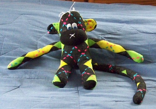 Neon argyle sock monkey