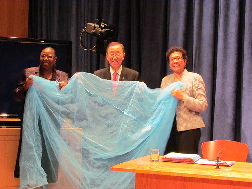 Presentation of a bednet to the UN Secretary General Ban Ki-moon