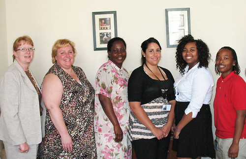 The 2011 summer interns stop to take a group picture. From left to right: Dana Coale, Dairy Programs Deputy Administrator ; Angie Salinas,  Agricultural  Marketing Specialist; Yvette Percell, Agricultural Marketing Assistant; Mariah Ortiz, Summer Intern, Dairy Programs Marketing Clerk; Shambriel Metts, Cesar Chavez  Summer Intern; Mandy Pullen, Student Trainee, Computer Clerk.