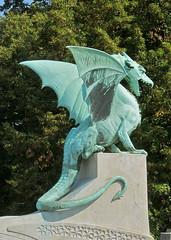 Dragon Bridge, Ljubljana, Slovenia (cjbphotos1) Tags: travel art bronze europe bridges eu statues dragons artnouveau slovenia ljubljana dragonbridge zmajskimost
