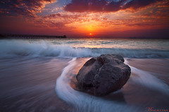 Hug Waves (mr.alsultan) Tags: bridge sea sun motion love beach rock clouds sunrise canon hug waves wave 5d kuwait splash q8 markii