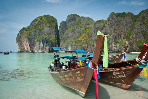 Longtail boats in Maya Bay