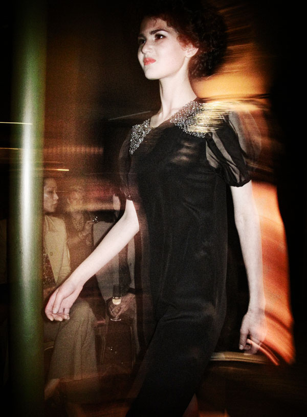 Gossip Couture Launch Black Dress with beaded jewel shoulder detail. AW 2012