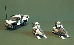 Gearing up for the winter (Aleksander Stein) Tags: bear winter white lego military combat snowmobile forces brigade gwagen ndc