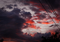 ^ skyfire ^ (Ar~Pic) Tags: california pink sky beautiful birds canon flickr stormy powerlines myhouse oranges reds month breastcancerawareness fiery yuk skyfire inthestreet flyingaway afire gonetoosoon butcouldntgetawayfromthem putonashow sittingonlines weekofpink
