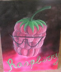Personification of Fruit: Raspberry Original Painting (TheFuzzyPineapple) Tags: pink original black detail green art sunglasses fruit writing handwriting glasses background magenta shades collection faded handpainted raspberry spraypaint variety eyeglasses multicolored description merge cursive acrylicpaint personification fushcia