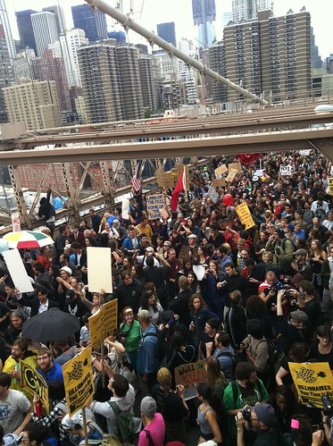 #occupywallstreet Brooklyn Bridge March Facing Manhattan