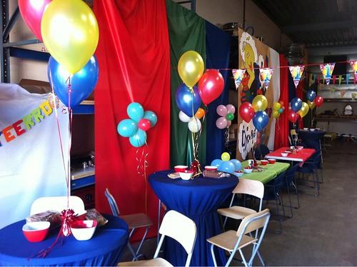 Tafeldecoratie 3ballonnen Rood, Geel, Blauw