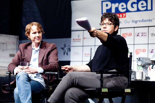 Grant Achatz and Kim Severson, taking questions from the audience