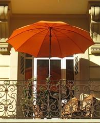 Dijon, France (wonky knee) Tags: orange france dijon balcony parasol shutters greatrailjourneys wonkyknee