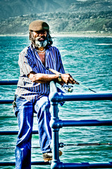 Captain Ahab (Finite Improbability) Tags: ocean california portrait pier losangeles fisherman nikon santamonica candid streetportrait pirate santamonicapier hdr d5100