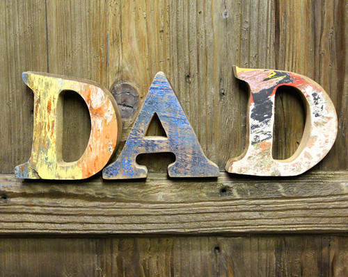 DAD SIGN Beach Decor Vintage Nautical Wooden Letters set by SEASTYLE