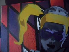 Harley Quinn - Head closeup (Kiwipdd) Tags: red 3 grey stencil purple harley quinn asylum playstation commission arkham zener