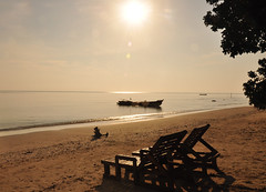 for love for eternity (malavikachatterjee) Tags: morning sea beach sunshine bench dawn boat sand shore