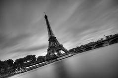 Paris (AO-photos) Tags: longexposure blackandwhite paris seine nikon noiretblanc eiffeltower toureiffel hdr poselongue d300s