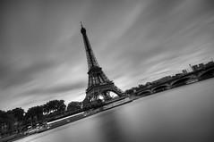 Paris (AO-photos) Tags: longexposure blackandwhite paris seine nikon noiretblanc eiffeltower toureiffel hdr poselongue d300s