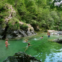 Swimming in the idyllic gorge of Iki vintgar (Bn) Tags: girls summer holiday green fall nature boys pool animals youth forest swimming trekking river landscape geotagged fun skinny jumping locals relaxing teenagers falls pearls rapids clean clear hidden campfire slovenia enjoy swamp vegetation gorge barbeque vanishing refreshing floods jewel dipping phenomena vas zala vintgar picnick unspoilt barje ljubljansko dissapeared iki strahomer ika geo:lon=14494303 geo:lat=45898483
