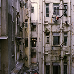 A view to kill for (CuriousLight) Tags: old film buildings hongkong iso400 kodakportra400vc decrepitude kiev88cm