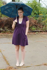spirit day outfit - purple dress, vintage camisole, blue sky umbrella