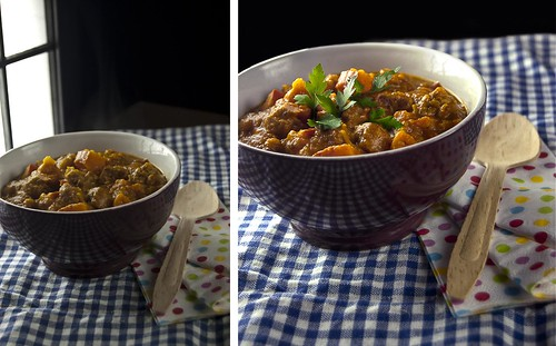 Before and After - Mediterranean Onion-squash and sausage soup