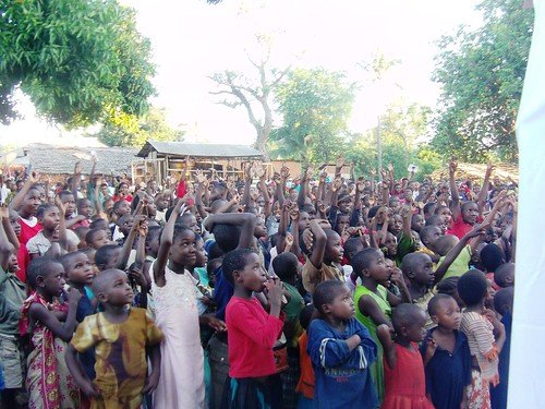 "<a href=""http://www.flickr.com/photos/46926491@N06/6266492442/"">Children responding at open air Uwezo campaign</a>"