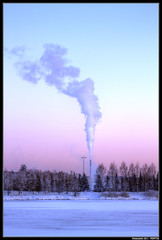 Viinikanlahti smoke (penttja) Tags: travel blue winter sunset snow cold art nature canon finland landscape europe frost freezing tampere 500d pyhjrvi colourfulsky colorfulsky viinikanlahti mygearandme penttja