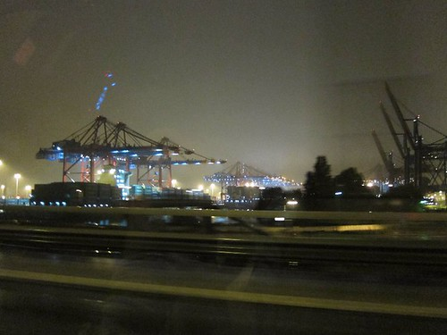Hamburg harbor by night