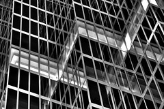 Confusion in the Night (gordeau) Tags: bw abstract building lines architecture night vancouver reflections gordon ashby flickrchallengewinner thechallengefactory gordeau