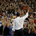 President Barack Obama waves goodbye to the Reynolds Coliseum crowd after his speech.