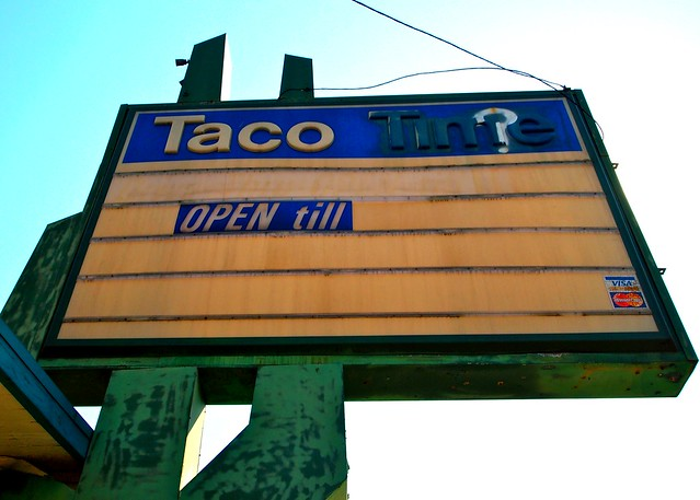 Old Taco Time sign