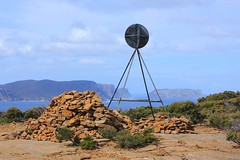 Mount Brown Summit with views across to Cape Pillar and Tasman Island (Trains In Tasmania) Tags: australia coastal tasmania trig tasmanisland tasmanpeninsular coastalviews mountbrown capepillar coastalscenary