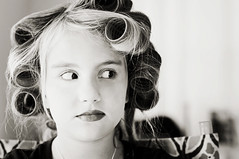 If truth is beauty, how come no one has their hair done in a library?  ~Lily Tomlin (Abby Lanes) Tags: portrait blackandwhite bw silly fashion horizontal hair landscape kid funny child makeup style blonde curler lipstick tween cosmetics hairstyle curlers hairstyling