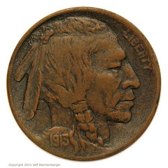 1913 Buffalo Nickel in copper obverse