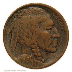 1913 Buffalo Nickel in copper obverse