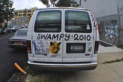Last Year's Model (Wires In The Walls) Tags: orange newyork brooklyn cat graffiti utah sticker peace tagged licenseplate williamsburg nena swampy cozt