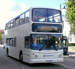 Stagecoach West . Cheltenham & Gloucester . 18200 VX54NNK . Royal Wells , Cheltenham Spa . Wednesday 14th-September-2011 . (AndrewHA's) Tags: white west bus gloucester alexander dennis 18200 stagecoach trident transbus route10 cheltenhamspa alx400 vx54nnk