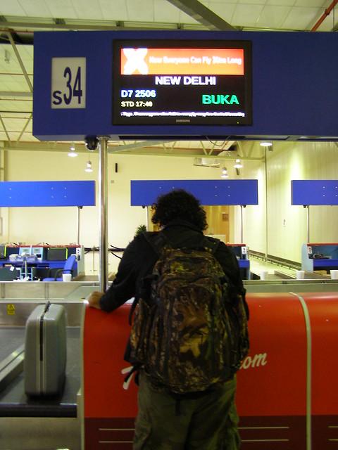 机场登记飞往新德里