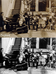Scala Band Before And After (JonCoupland) Tags: old white black boston ink photography photo jon acid lincolnshire spots burn restoration removal scratch recover coupland revive