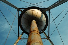 What's Up? (MilkaWay) Tags: metal georgia rust geometry watertower perspective athens symmetry lookingup wires clarkecounty milledgeavenue