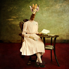 the aristocrat (Martine Roch) Tags: original portrait girl animal lady pose square costume funny antique unique surreal books photomontage elegant girafe cite aristocrat martineroch thecharacters flypapertextures lescaractères