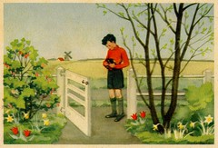 Frank wants to sell his crows (arthurvankruining) Tags: flowers windmill dutch birds fence crows picturebook