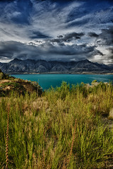 Wakitipu weather (MarkMeredith) Tags: newzealand lake mountains grass weather clouds ominous nz otago queenstown grasses lakewakitipu
