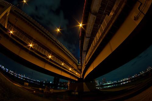 [フリー画像] 建築・建造物, 道路・線路, 夜景, 日本, 201109260100