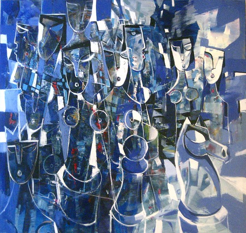 Checkmatein Blue - Painting - Cubism