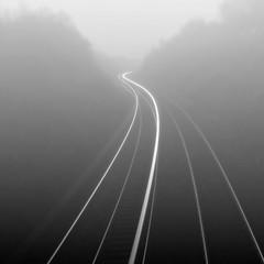 MISTery Train (kenny barker) Tags: trees mist motion art monochrome lines fog train landscape dusk contemporary tracks railway panasonic le g1 society idream shockofthenew
