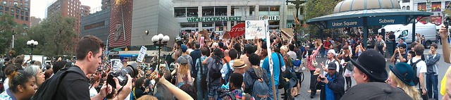Panorama of Occupy Wall Street protesters in Union Square