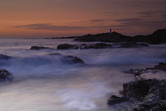 godrevy 14th sept 2011 (Jerry Cartlidge) Tags: sunset sea sun lighthouse water clouds rocks cornwall waves godrevy hayle 06nd